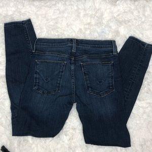 Hudson Frayed Split Hem Skinny Jeans